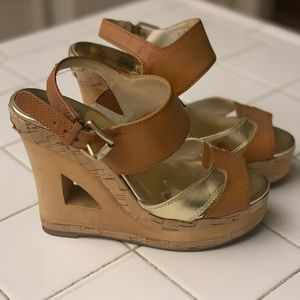 Michael Kors Leather/Wooden Wedges (Size 7)